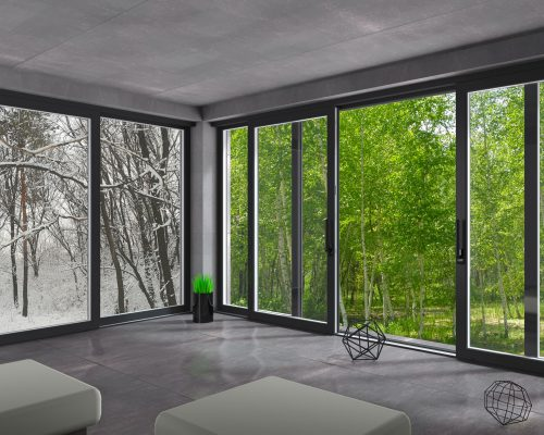 3d illustration. Sliding windows winter summer. Hotel resort. Forest and nature. Country holiday.